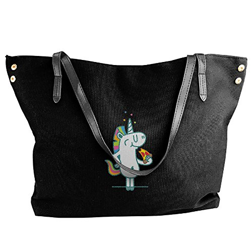 Large Black Pizza Bags Black Unicorn Hobo Bags Handbags Fashion Handbags Capacity Tote Women Shoulder Canvas 46Hg6A