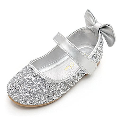 Silver Toddler Shoes (YING LAN Girl Round-Toe Sparkle Bowknot Ballet Ballerina Flat Shoes Silver)