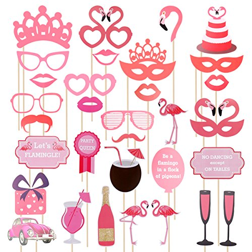 LUOEM 32pcs Birthday Party Photo Props Flamingo Party Supplies for Wedding Christmas Luau Festivals