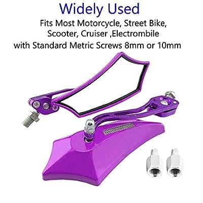 ESUPPORT Purple Universal Motorcycle Motorbike Bike 8mm 10mm Rear View Side Mirror Scooter ATV: Automotive