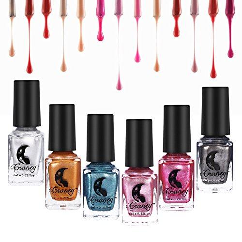 Esmalte de uñas Efecto de espejo, 6 colores esmalte de uñas metálico Colorido brillante herramienta de arte de uñas(6...