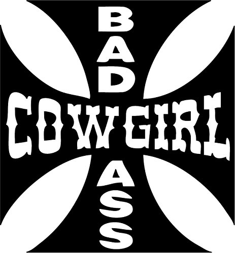 Family Connections BAD ASS COWGIRL CROSS ~ Reflective Black ~ Window/Car / Truck/Boat / Yeti/Laptop / iPhone/Wall DECAL WITH ALCOHOL PAD~ Size 8.16