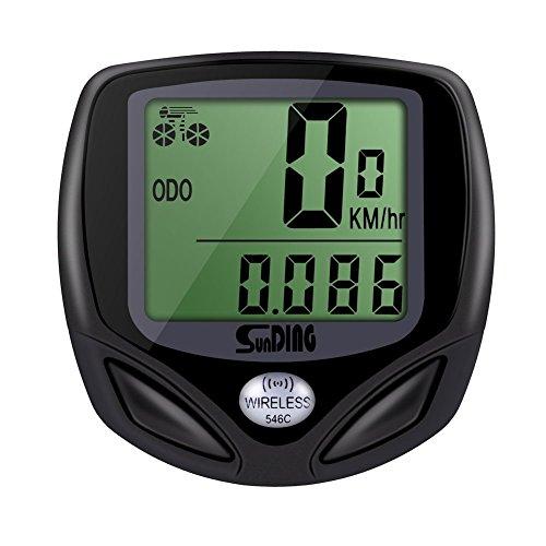 GHB Fahrradcomputer Drahtloser Speedometer Wasserdichter Kilometerzähler mit LCD Display Multifunktional (Schwarz)