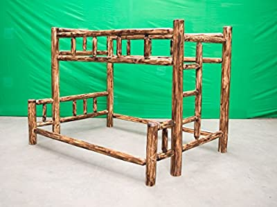 Midwest Log Furniture - Torched Cedar Log Bunkbed - Twin Over Queen