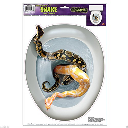 [1 HALLOWEEN Party Decoration Prop Bathroom TOILET Lid TOPPER Cling Scary SNAKES by New] (Scary Decorations)