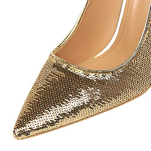 Pelle Flats di Donna Tirare AllhqFashion Tacco Gelatina Oro Punta Ballet Alto FBUIDD006710 Chiusa vntdd1Bq