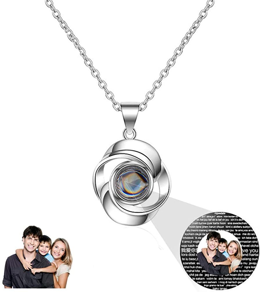 Silver Full Color 20 Custom Photo Projection Necklace I Love You in 100 Languages 100 Different Ways