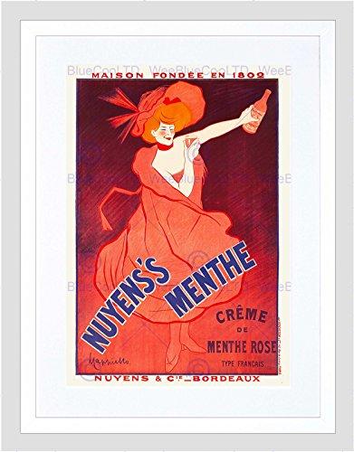 Advert Drink Alcohol NUYENS Creme Menthe France Framed Art Print Mount B12X6736 (Creme De Menthe Drinks)