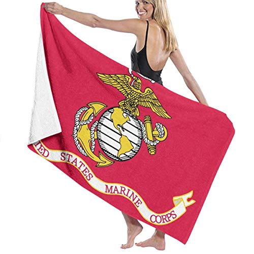 KEIOO Flag of The United States Marine Corps Beach Towel Bath Towel Maximum Softness & Absorbency for Daily Use Outdoor Sports Travel Swim