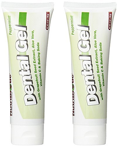 NutriBiotic Peppermint Dental Gel (Pack of 2) with Grapefruit Seed Extract, Aloe Vera, Vitamin C, Teeth Whitening Baking Soda, Boron, Calcium and Vitamin E, Vegan, 4.5 (Peppermint Whitening Vitamins)