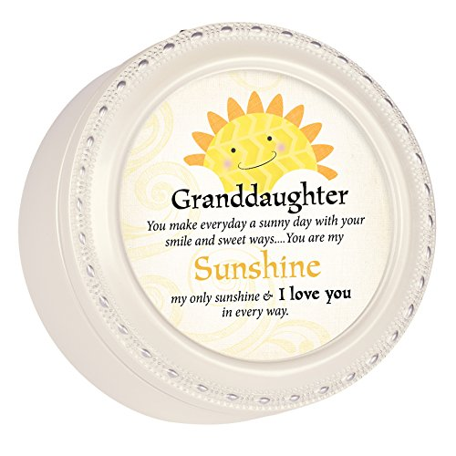 Cottage Garden Granddaughter My Love You Glossy Ivory Round Jewelry Music Box Plays Tune You are My Sunshine
