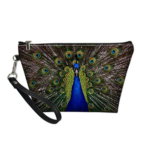 Bigcardesigns Travel Make-up Bags Peacock Print Zipper Organizer Cosmetic Purse Waterproof PU Leather Toilet Pouch…