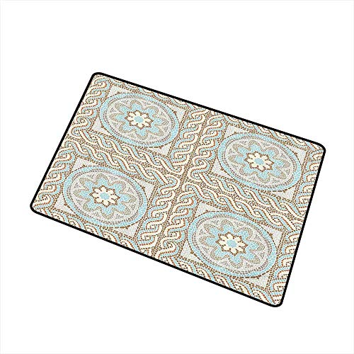 Jbgzzm Door mat Antique Decor Collection Mosaic Tile Design with Floral Elements Twists and Multi Colored Circular Pattern W20 xL31 Non-Slip Door mat pad Machine can be Washed Cream Brown Blue