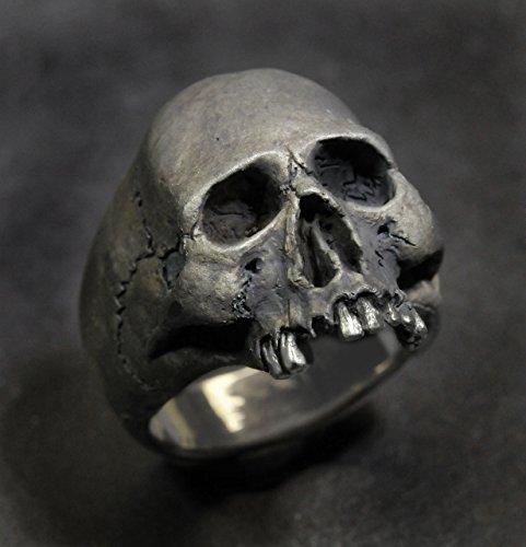 Skull Ring,Half Jaw, Mens Silver Skull Ring, Jack Sparrow,Biker ring, Rocker ring, Goth ring, Custom Sterling Silver Skull Ring,.925 by Custom Skull Rings