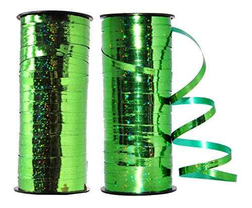 Mandala Crafts 5mm Wide Gold Silver Green Blue Red Hot Pink Gift Wrapping Metallic Curling Ribbons (Two Rolls 200 Yards, Green) (Blue Ribbon Metallic)