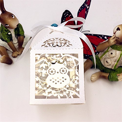 Saitec ® 50pcs Owl baby shower candy box birthday party decorations kids souvenirs-baby-shower gift box event party supplies