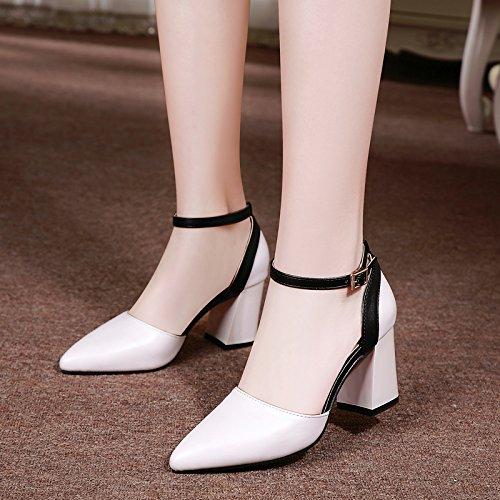 KPHY Sommer Sind Die Nahen Nahen Nahen Heels Schnallen Einzelne Schuhe Dicke Schuhe 7Cm Baotou Sandalen Damenschuhe. c307d8