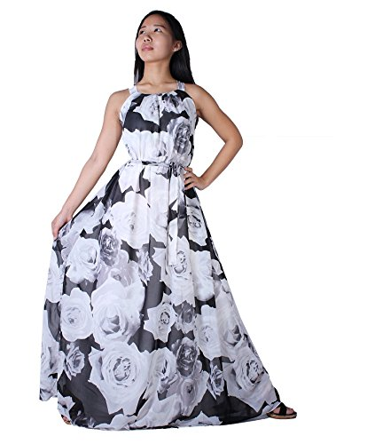 MayriDress Women's Maxi Dress Long Summer Floral Plus Size Clothing (5X-Long 57 inch, White Rose)