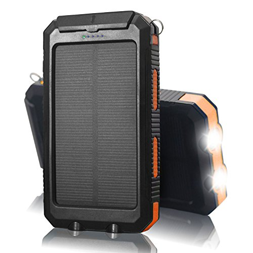 QueenAcc 10000mAh Solar Charger Solar Phone Charger Water/Shock/Dust proof Solar Power Bank with LED Flashlight Dual USB Port Battery Charger for Portable for Smart phone and Other USB Devices(Orange)