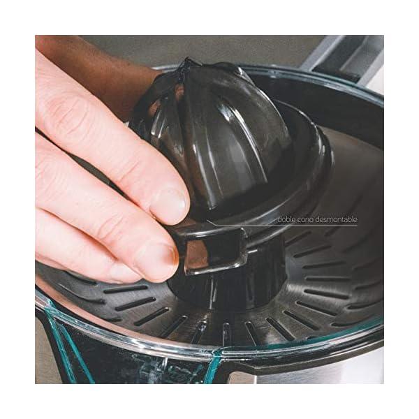 Ufesa EX4950 Spremiagrumi, 600W, Versamento continuo, Salvagoccia, Doppio cono, Filtro in acciaio inox, Braccio per… 5