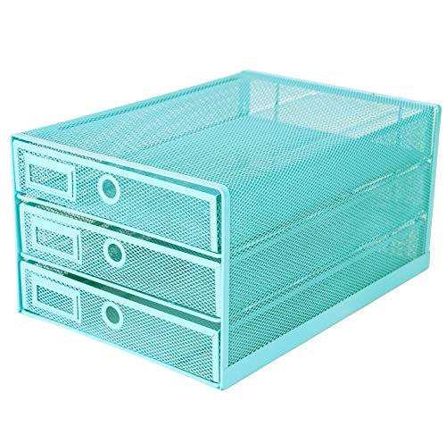 (Exerz Desk Organizer Wire Mesh 3 Tier Sliding Drawers Paper Sorter/Multifunctional/Premium Solid Construction for Letters, Documents, Mail, Files, Paper (Turquoise/Blue EX3205))