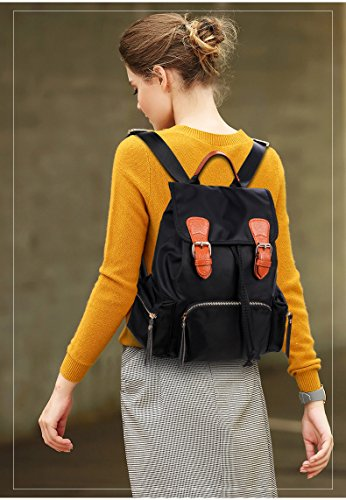 Water Sheli Bag Nylon Backpack School Deluxe Women Large Purse Black Resistant for Girls TBxqEpawB