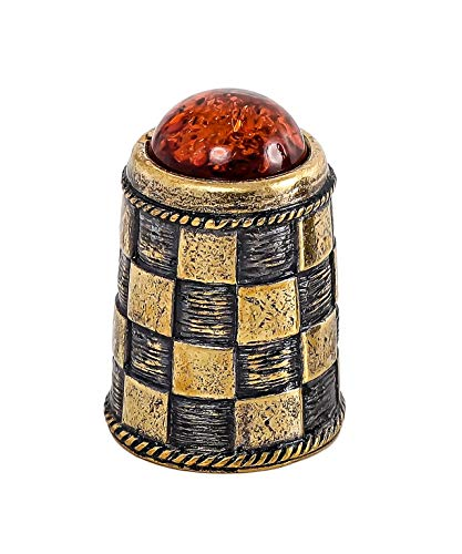 Amber and Brass Collectible Thimble (Chess) Decorative Souvenir Thimbles from Kaliningrad, Russia. (Souvenir Chess)