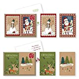 Arts & Crafts : 24 Count Christmas Holiday Boxed Cards Folk Kraft