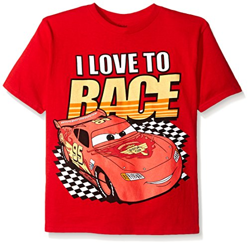 Disney Boys' Little Boys' Cars Lightning Mcqueen T-Shirt, I Love to Race Red, Small/4