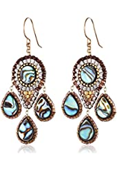 Miguel Ases Abalone Small 3-Drop Chandelier Earrings