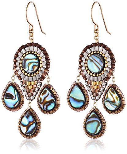 Miguel Ases Abalone Small 3-Drop Chandelier Earrings by Miguel Ases