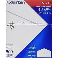 Sobres colombianos n.º 10, sello engomado, ejecutivo de negocios, 4-1 /8 x 9-1 /2 pulgadas, blanco, 500 por caja (CO125)