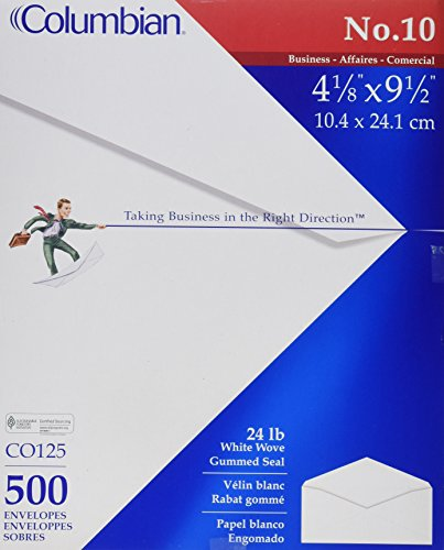 Columbian #10 Envelopes, Gummed Seal, Executive Business, 4-1/8 x 9-1/2 Inches, White, 500 Per Box (CO125) (9 1/2 White 500 Envelopes)
