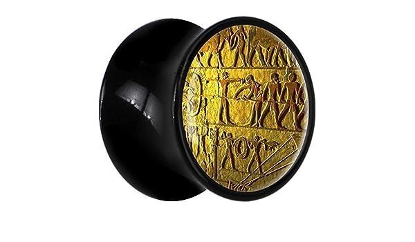 BodyCandy Cuerpo Caramelo Acrílico Negro Jeroglíficos Egipcios Dilatación Ancho Par 7mm: Amazon.es: Joyería
