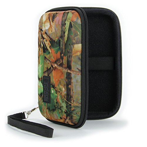 USA Gear Mini Photo Printer Travel Case for Kodak Mini 2 - Weather & Scratch Resistant Hard Shell, Carrying Wrist Strap with Storage for Charging Cable, Printer Cartridge & Photo Paper - Camo Woods