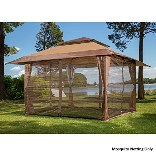 New mosquito netting panels gazebo canopy set brown - Canopy tent with mosquito net ...