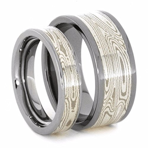 His and Hers Wedding Set, Palladium, White Gold, Mokume Gane Titanium Wedding Bands, M12.5-F6