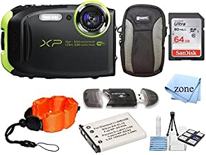 Fujifilm FinePix XP80 Waterproof Digital Camera with 2.7-Inch LCD + 64GB Memory Card+ Wrist Floating Strap + Replacement NP-45 Battey Bundle kit (Lime)