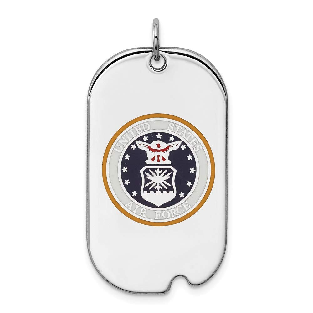 925 Sterling Silver Us Air Force Dog Tag Necklace Pendant Charm Military Fine Jewelry Gifts For Women For Her