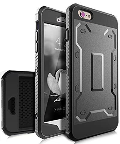iPhone 6 Plus Case,KAKA iPhone 6s Plus Case with Built in Screen Protector,[Slim Fit]Ultra Heavy Duty Case High Impact Resistant Hybrid Full Body Protective Case for iPhone 6 Plus/6s Plus,Black