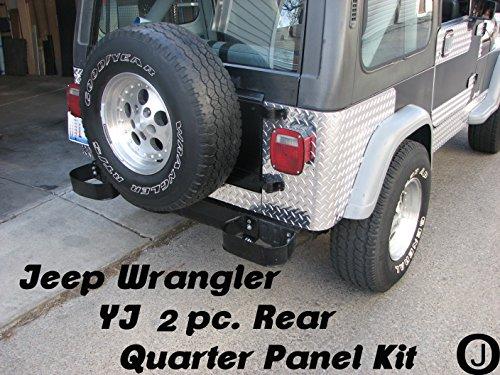 JEEP YJ WRANGLER 2 PC DIAMOND PLATE REAR BODY ARMOR CORNER GUARD KIT
