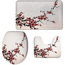 3 Piece Toilet mat Set,Art,Elegance Cherry Blossom Sakura Tree Branches Ink Paint Stylized Japanese Pattern Decorative,Red Cream Brown,Printed