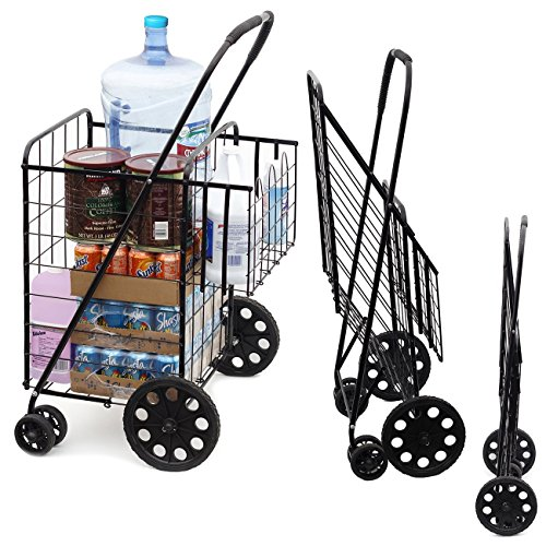 7 Double Basket Flat Folding Shopping Cart with Swivel Wheels, Black ()