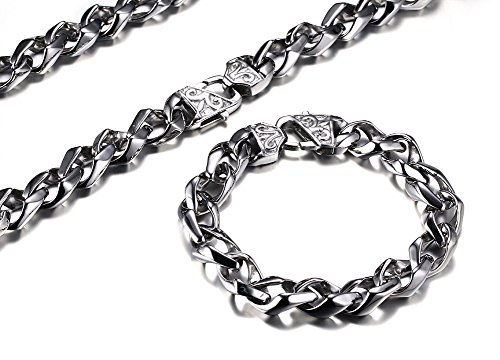 Stainless Steel Hip Hop Punk Style Heavy Solid Metal Chain Necklace and Bracelets Jewelry Set for Men