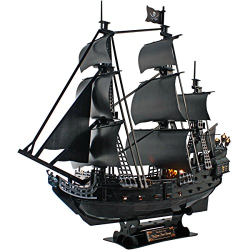 CubicFun Queen Anne's Revenge Pirate Ship Model Kit (with LEDs) 3D Puzzle, Large 340 Pcs, L520h
