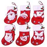 6pcs Mini Christmas Stockings Gift Treat Bag, Xmas Candy Socks, Santa Snowman Reindeer Bear Christmas Tree Hanging Decoration, Kitchen Tableware Flatware Holders Set, Dinnerware Cover Cutlery Bag