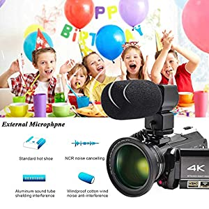 "Video Camera 4K Camcorder ZOHULU WiFi Ultra HD Vlog Camera for YouTube, 3.1"" IPS Screen 30X Digital Zoom Night Vision Video Recorder with Microphone, Wide Lens, Lens Hood, 32GB SD Card, 2 Batteries"