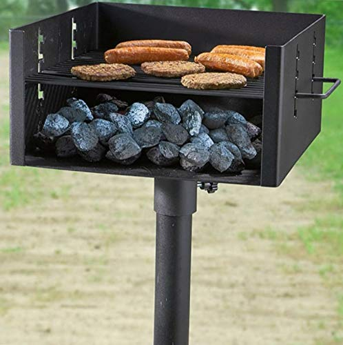 - Mikash Charcoal Grill Large Heavy Duty Single Post Park Style BBQ Outdoor Cooking Black | Model GRLLST - 257