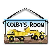 Yellow Trucks Personalised Kids Door Sign