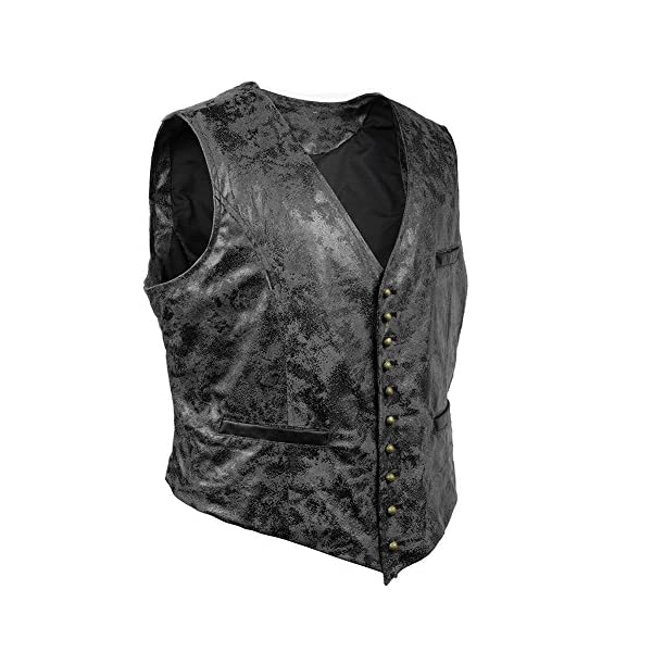 Alex Sweet Mens PU Faux Leather Steampunk Metal Buttons Gothic Vintage Style Waistcoat Vest 5